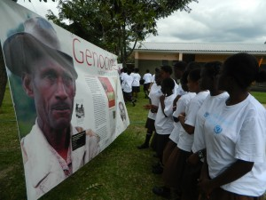 Students viewing the exhibition. Photo credit UNIC Lusaka