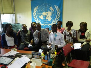 Students from the University of Zambia take part in a discussion on slavery via WebEx with Students from Lagos, Nigeria. Photo credit UNIC Lusaka.