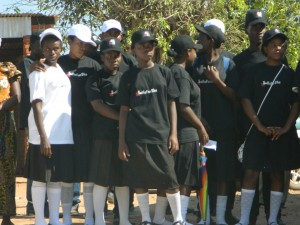 "Students wearing branded attire for the ""HeforShe"" campaign."