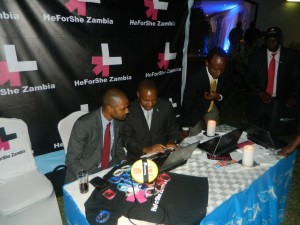 HeforShe registration, left to right Vincent Mwale, the minister of youth and sport, Stephen Kaunda, UNDP and Mulenga Sata, Deputy Minister State House