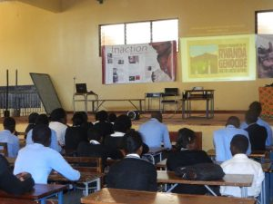 Students from Kabwe Secondary School (KSS), listening to the presentation