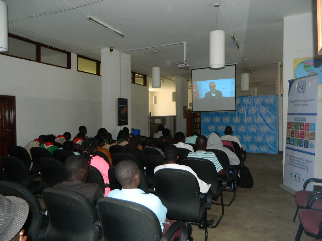 "Patrons watching the documentary ""Until There is Peace"""