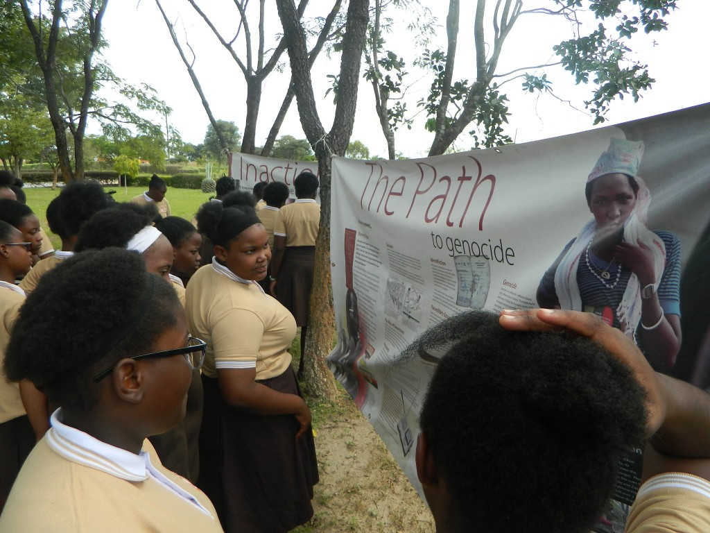 Pupils at Ndola Girls Technical Secondary School viewing the poster exhibition.